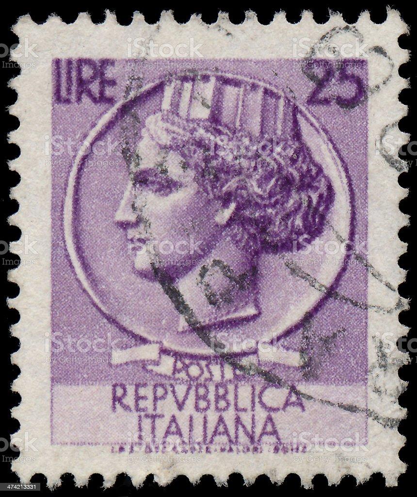 Sstamp printed in Italy shows Italia Turrita royalty-free stock photo