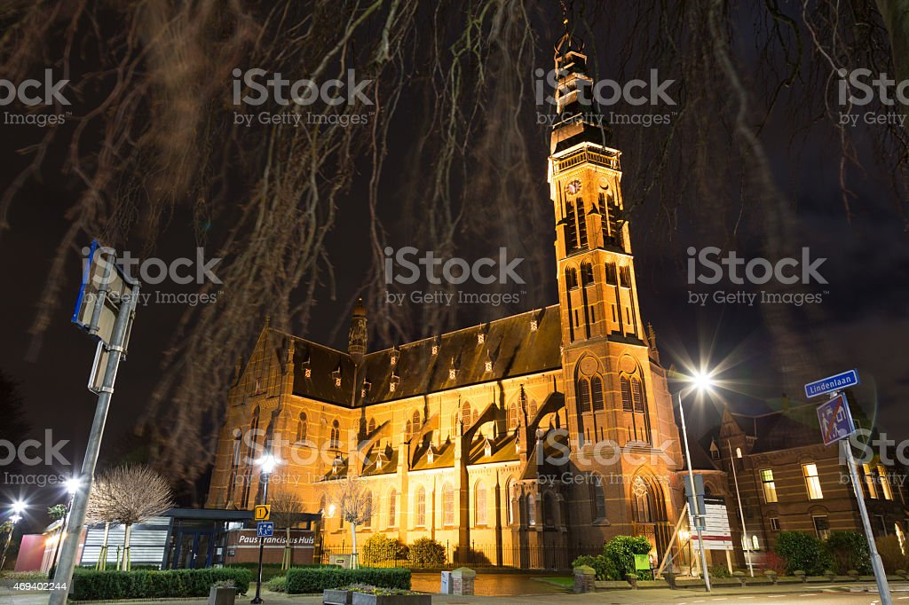 st. Agatha church at night, Lisse stock photo