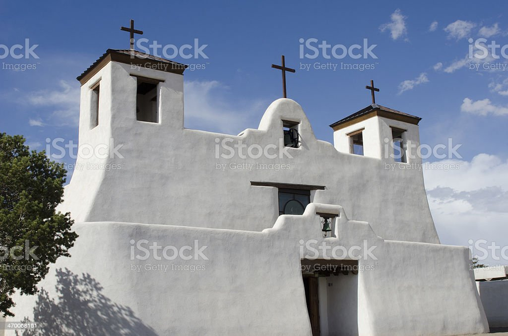 St. Agustin Mission Church in Isleta Pueblo stock photo