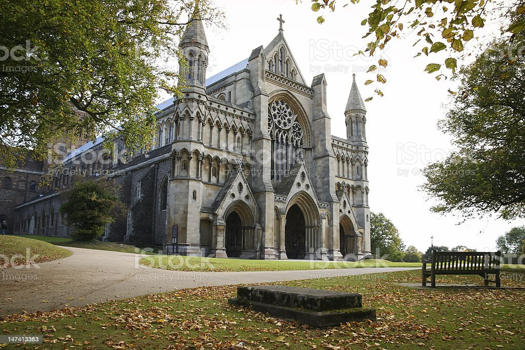 st albans cathedral england autumn royalty-free stock photo