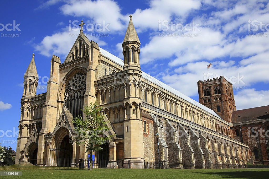 St Albans Cathedral stock photo