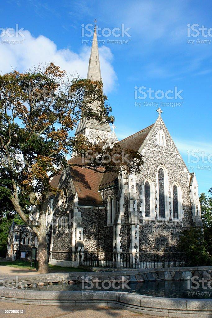 St. Alban's church (Den engelske kirke) and fountain in Copenhag stock photo