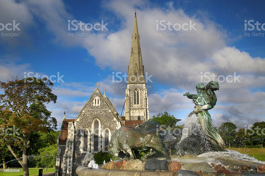 St. Alban's church (Den engelske kirke) and fountain stock photo