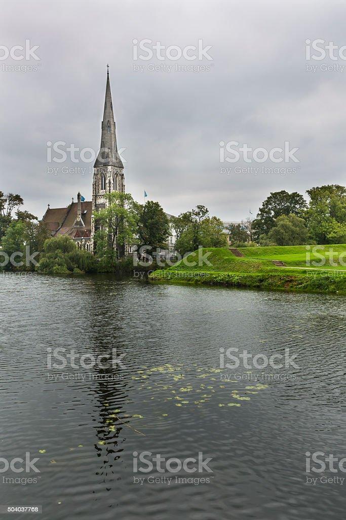 St Alban's Church in Copenhagen On A Gray Day stock photo