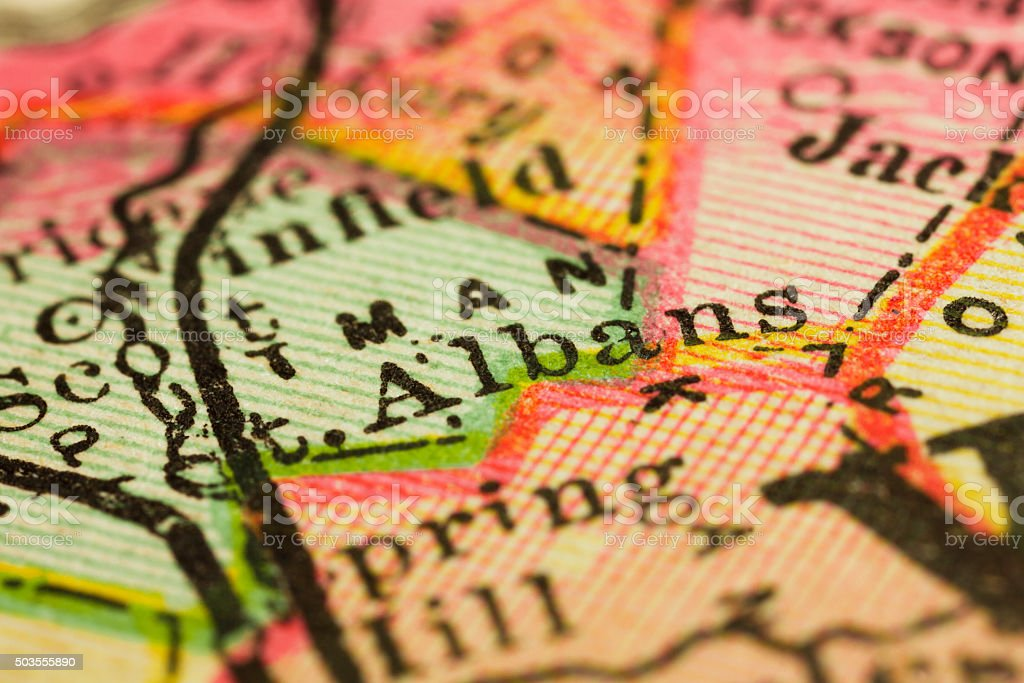 St. Albans, West Virginia on an Antique map stock photo