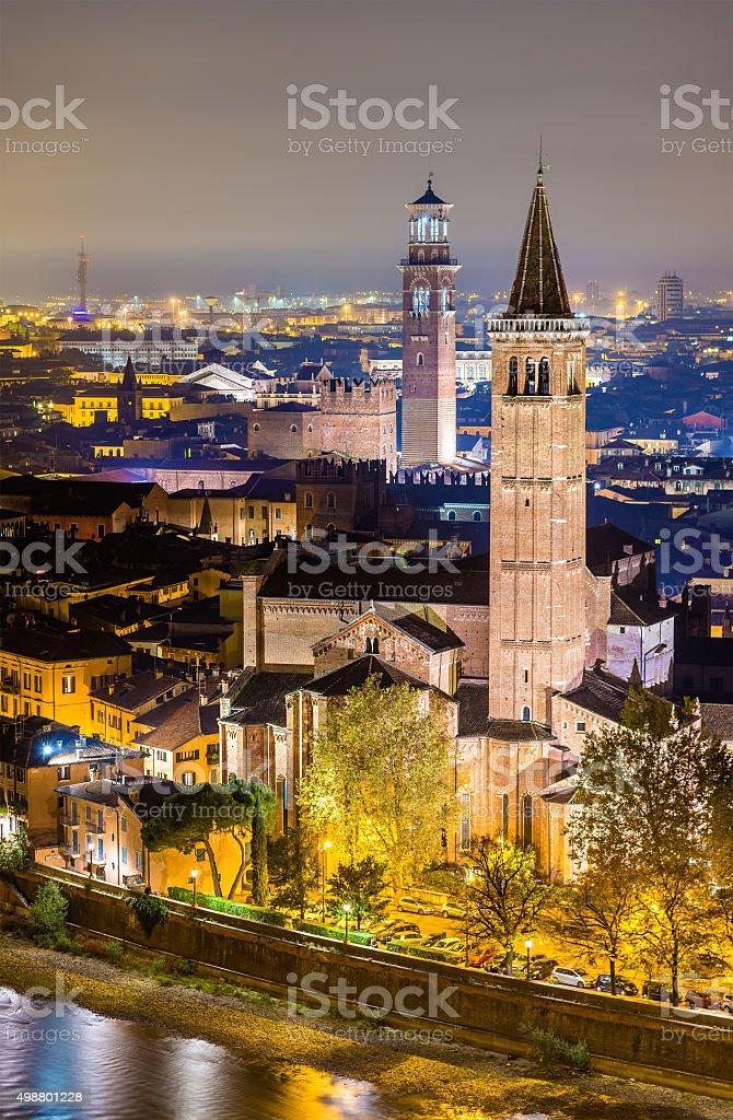 St. Anastasia church and Palace della Ragione - Verona stock photo