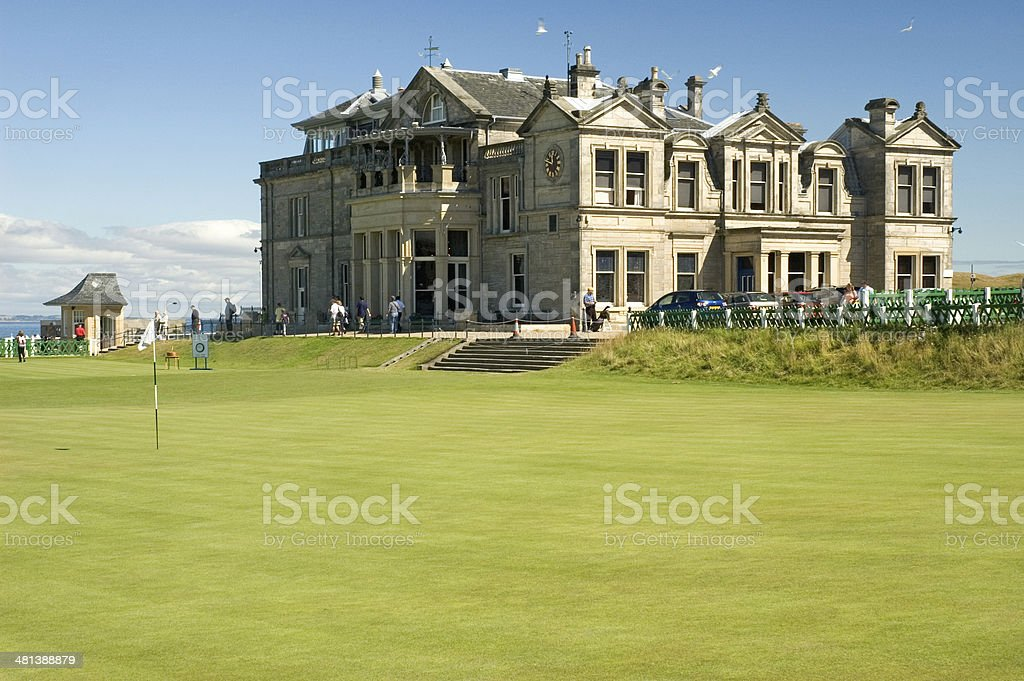 St Andrews, 18th Green & Clubhouse stock photo