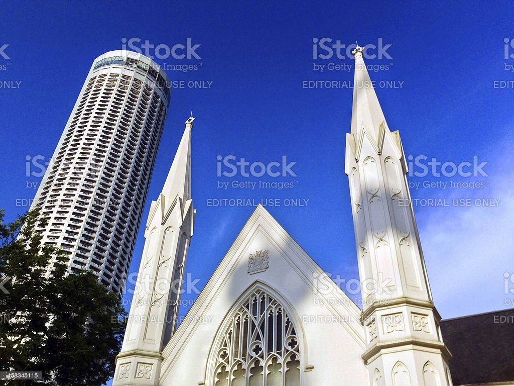 St Andrews Anglican Cathedral and Swissotel The Stamford stock photo