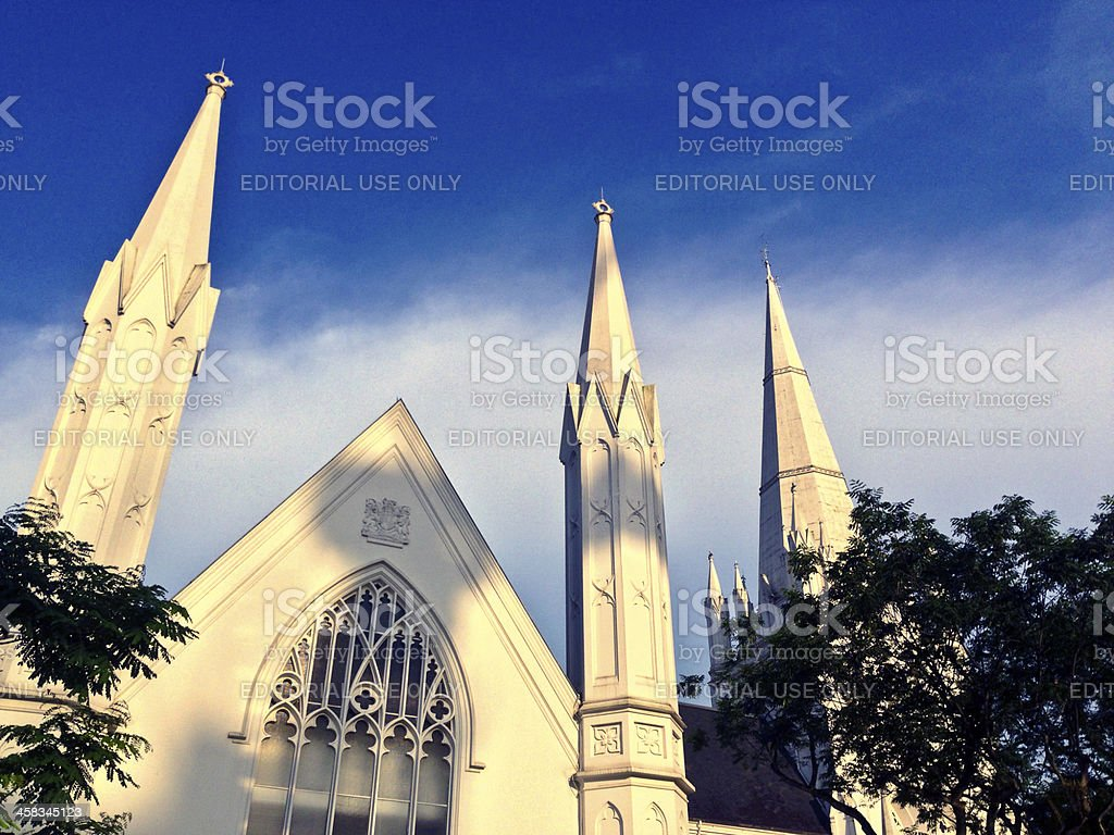St Andrews Anglican Cathedral and Swissotel The Stamford. stock photo