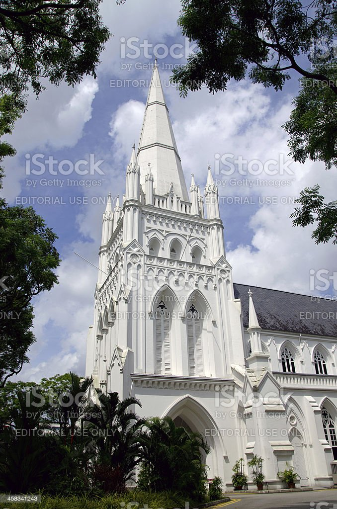 St. Andrew's Cathedral framed with trees stock photo