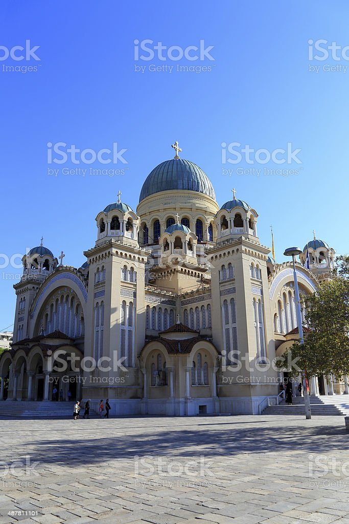 St. Andrew's Cathedral in Patra, Peloponnes, Greece stock photo