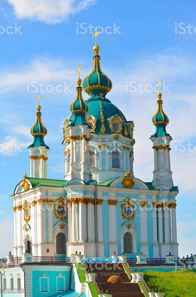 St. Andrew's Church in Kiev stock photo