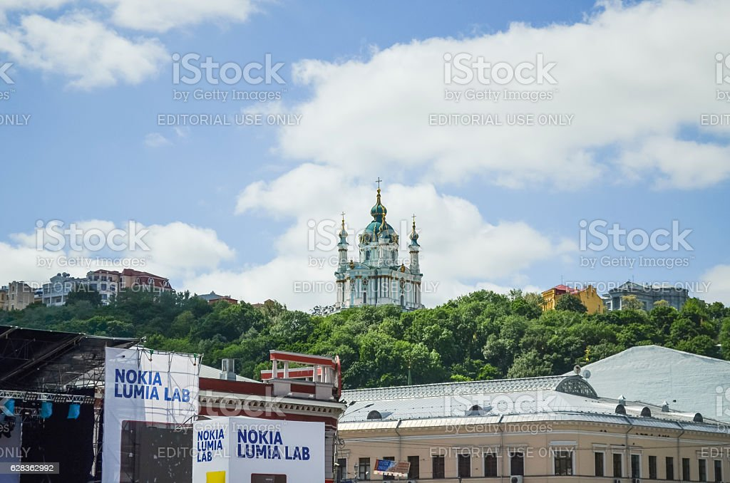 St Andrew's Church on a hill called Andriyivskyy Descent stock photo