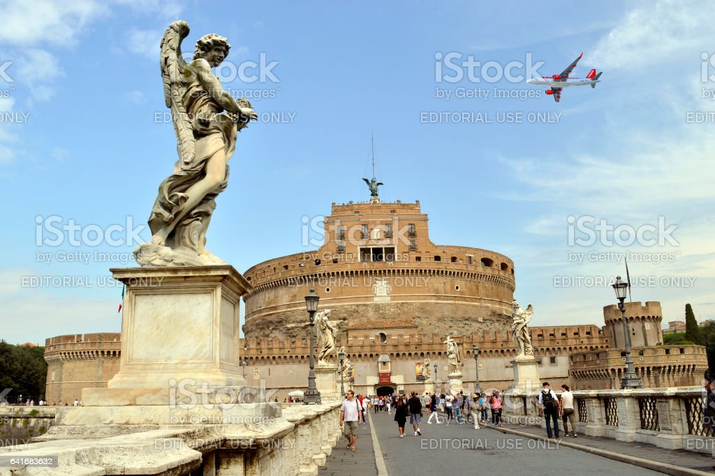 St. Angelo Bridge  crossing the river Tiber stock photo