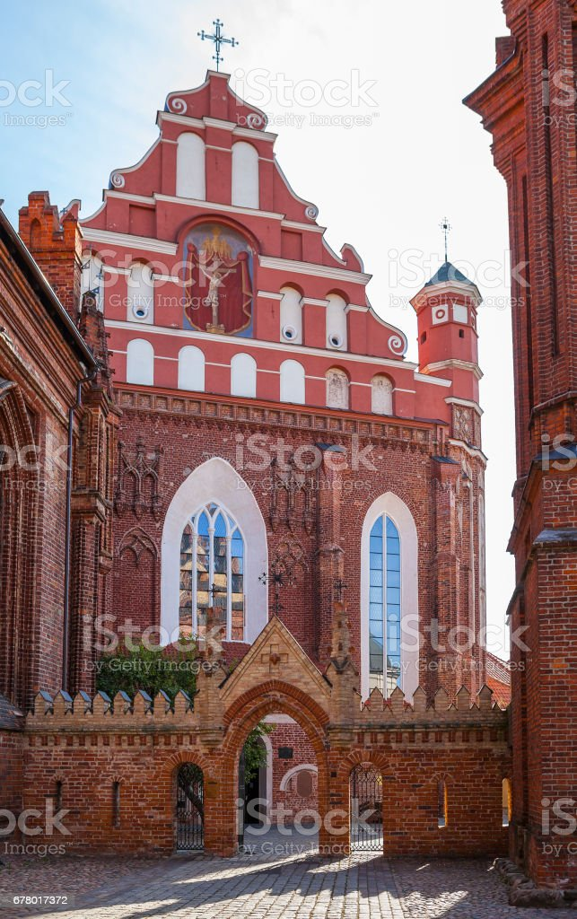 St. Anna's Church in Vilnius, Lithuania. Popular tourist place stock photo