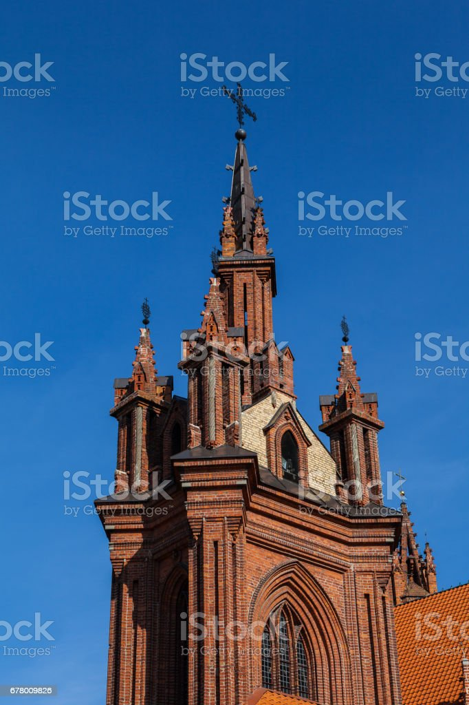 St Anne's church in Vilnius, Lithuania. Architectural details. UNESCO world heritage site. 15-th century stock photo