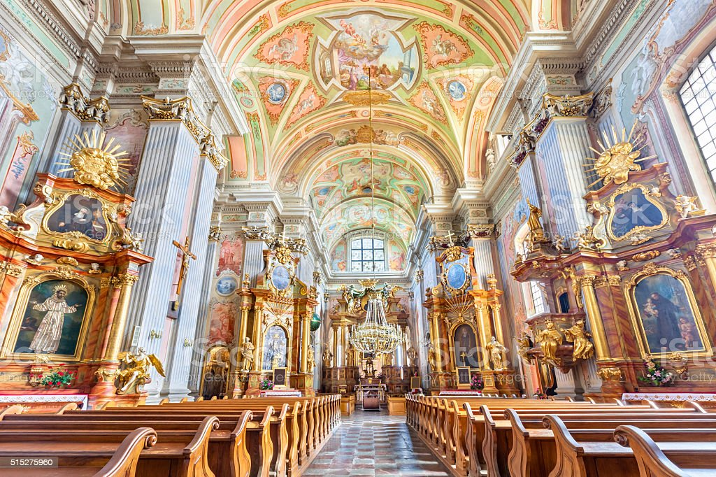 St. Anne's Church Interior in Warsaw Poland stock photo