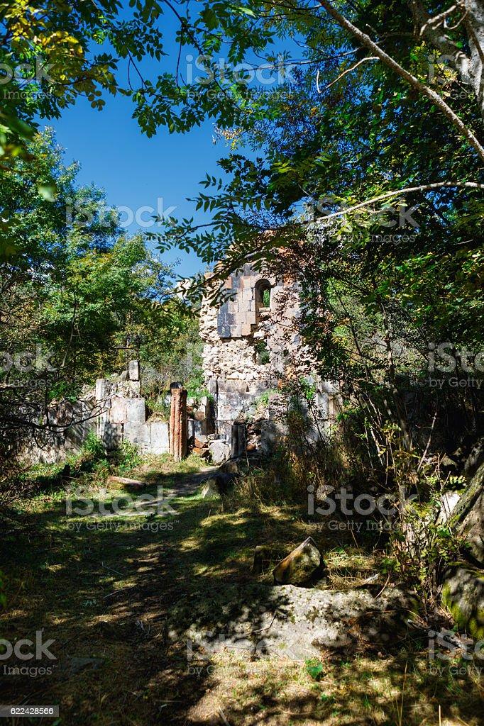 St. Astvatsatsin Holy Mother of God Church ruins in Aghveran stock photo
