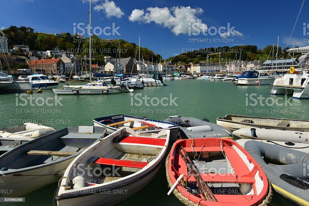 St. Aubin harbour, Jersey, U.K. stock photo
