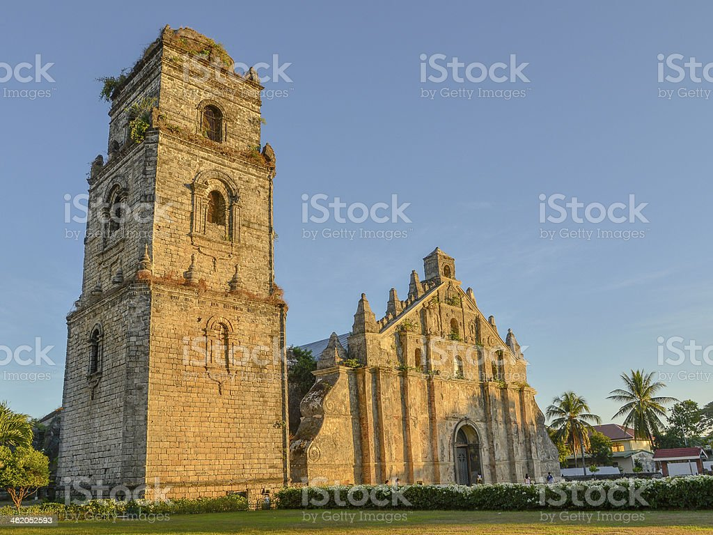 St. Augustine Church and Bell Tower - Ilocos Note, Philippines stock photo
