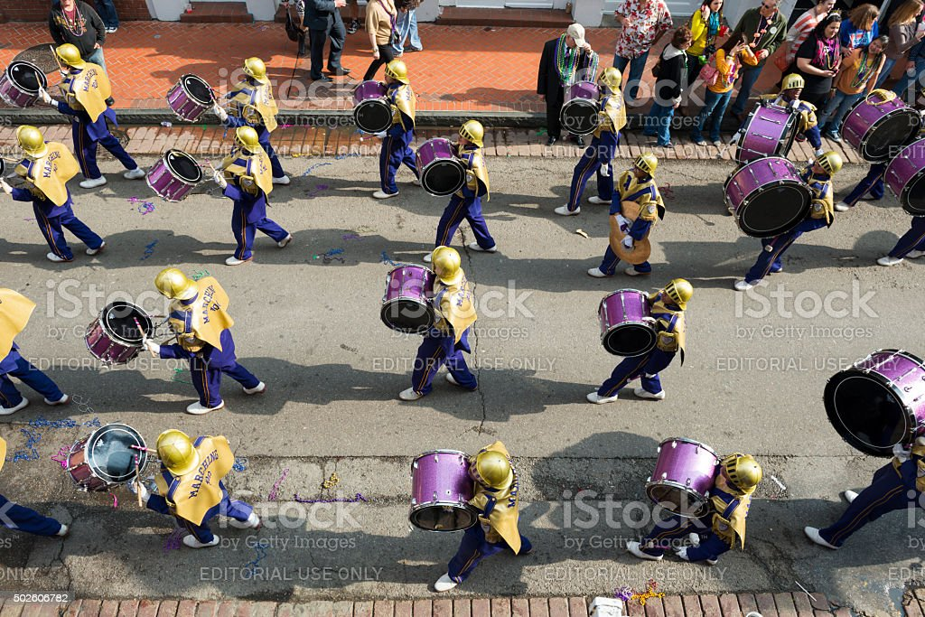 High school marching band in New Orleans stock photo