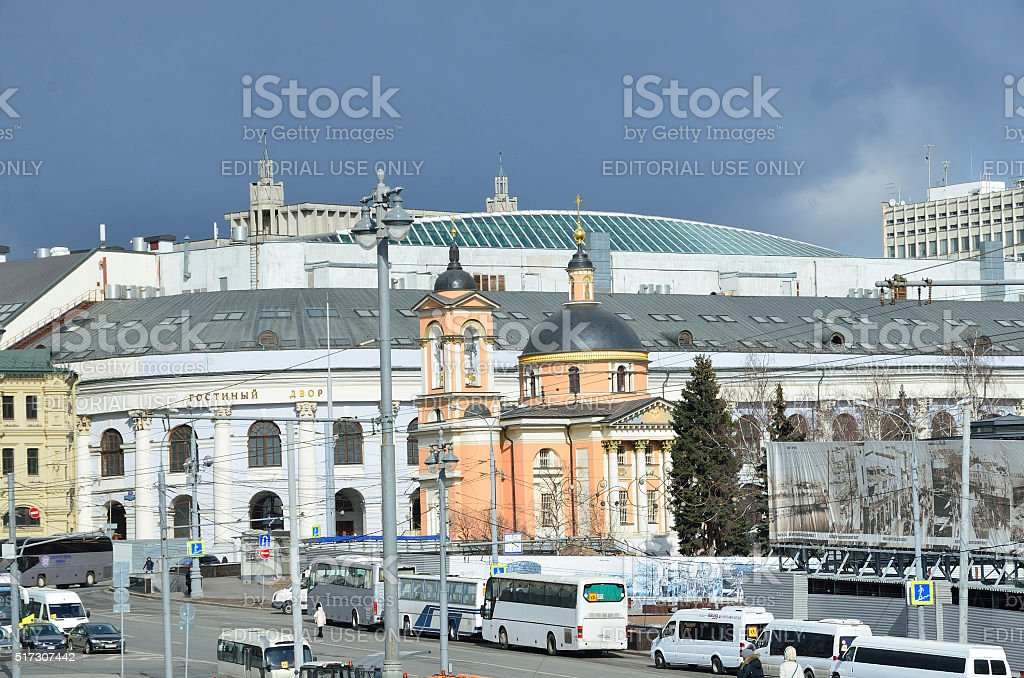 St. Barbara Church and Gostiny Dvor in Moscow stock photo