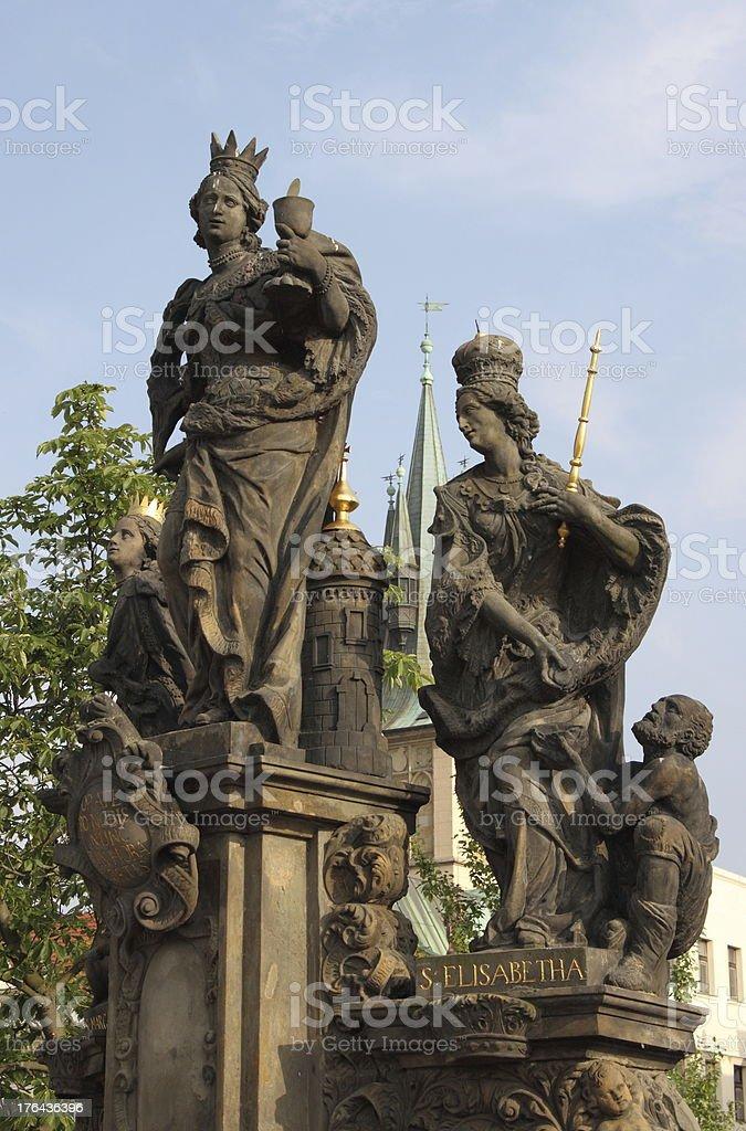 St. Barbara, Margaret and Elizabeth statue stock photo