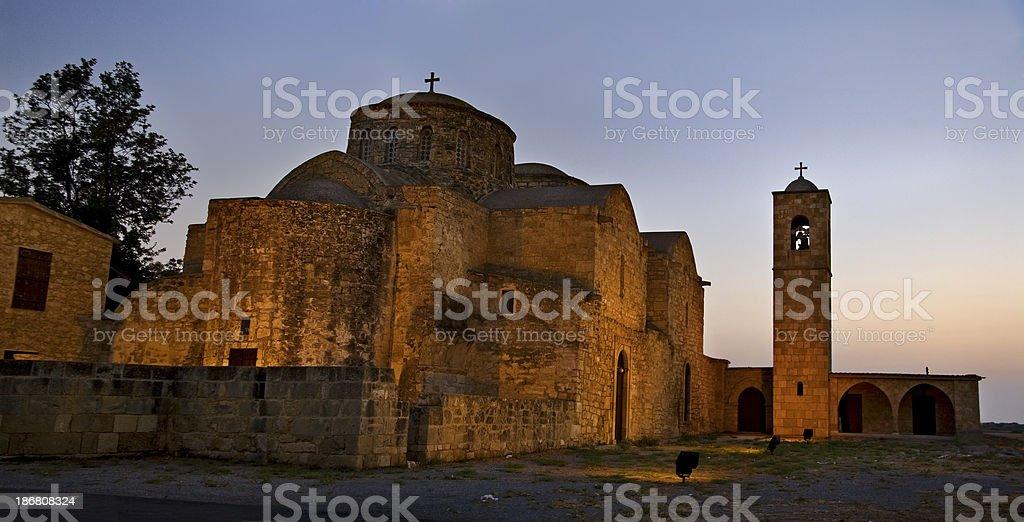 St. Barnabas Monastry at dusk, Famagusta, Cyprus stock photo