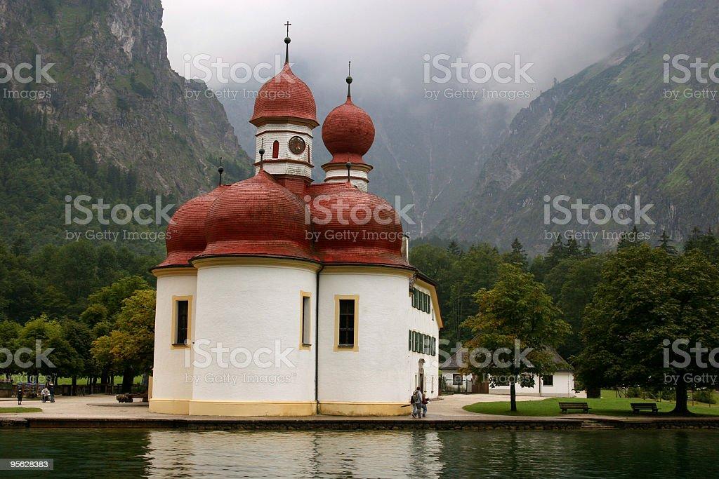St. Bartholomä am Königssee vor Watzmann-Ostwand royalty-free stock photo