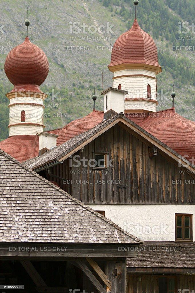 St. Bartholomew church in Bavarian Alps. stock photo