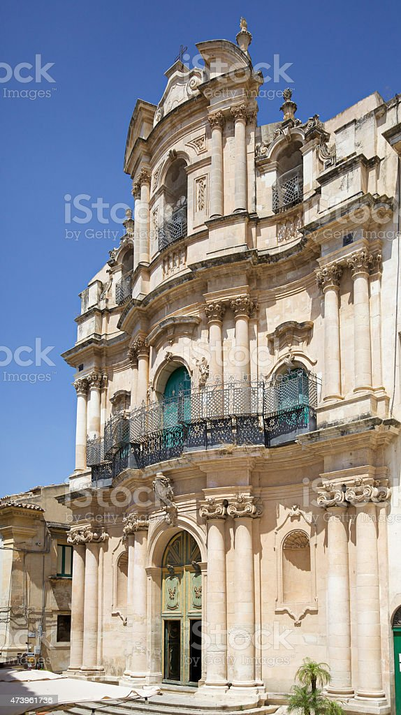 St. Bartholomew church in Scicli. Sicily, Italy stock photo