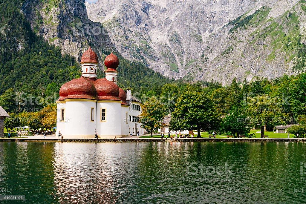 St. Bartholomew's church, Konigssee, Germany stock photo
