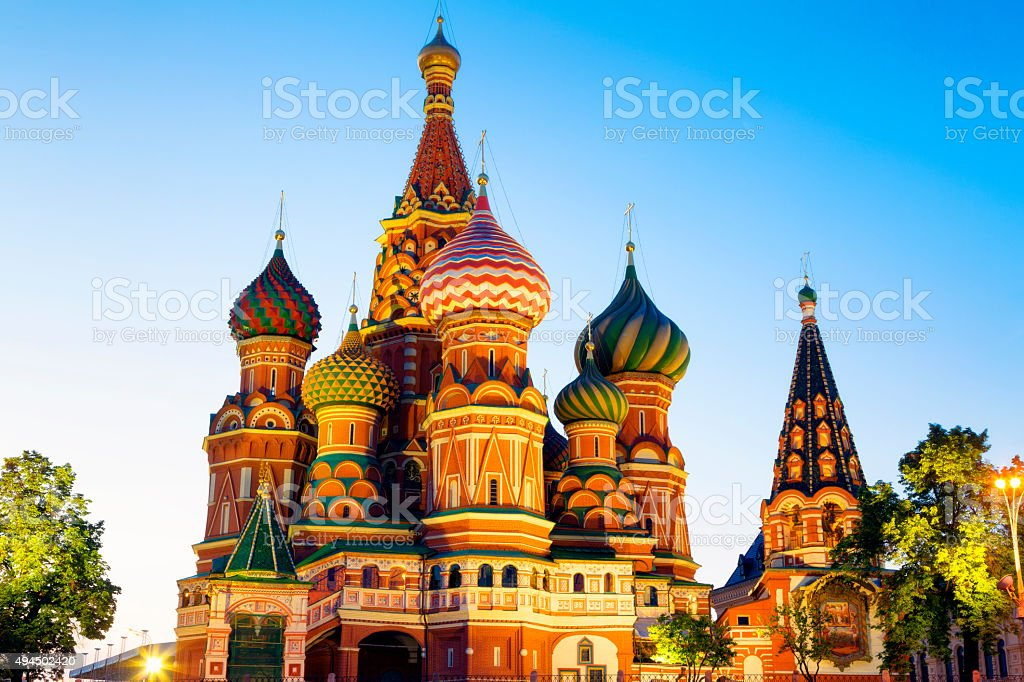 St. Basil Cathedral Illuminated at Twilight Red Square, Moscow, Russia stock photo