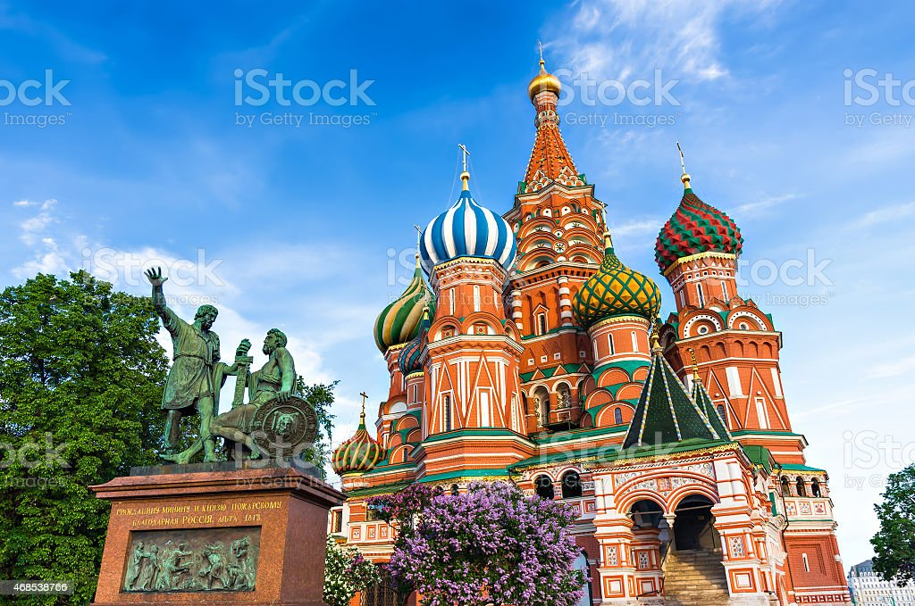St. Basil Cathedral in Moscow, Russia. stock photo