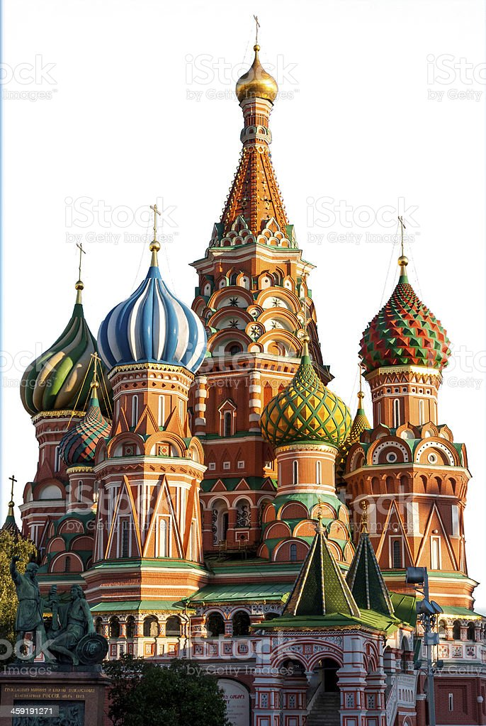 St Basil Cathedral, Moscow, isolated on white stock photo