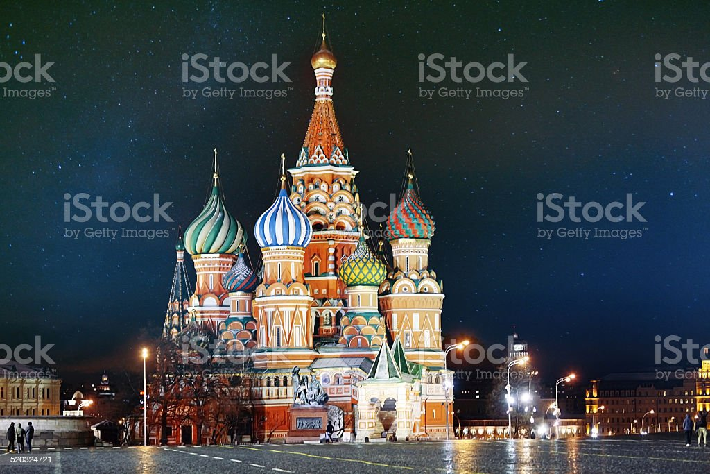 St. Basil Cathedral, Moscow Kremlin, night stock photo
