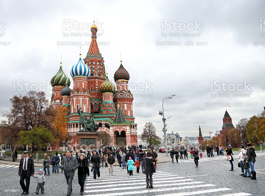 St. Basil Cathedral on Red Square stock photo
