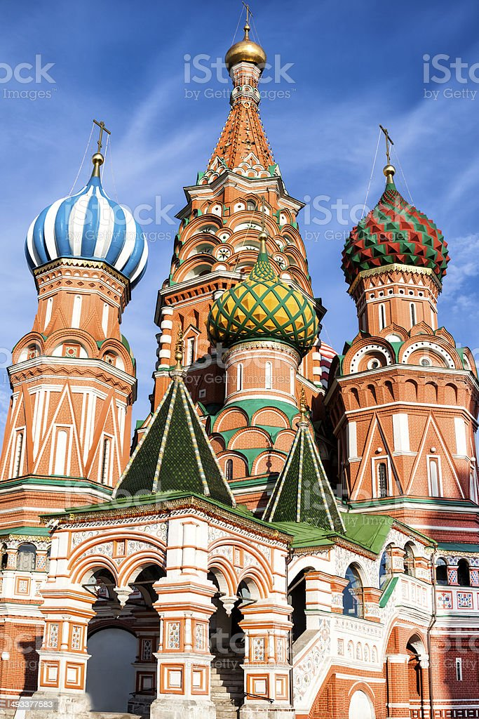 St. Basil Cathedral, Red Square in Moscow, Russia stock photo