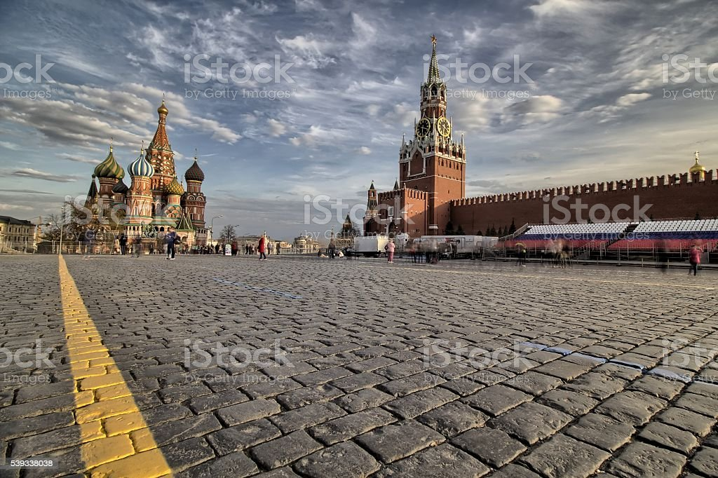 St. Basils Cathedral and Kremlin on Red Square in Moscow stock photo
