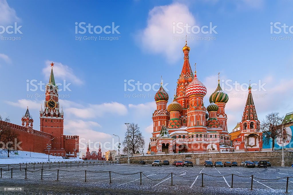 St. Basil's Cathedral and Spasskaya Tower stock photo