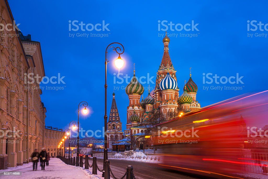 St. Basils Cathedral at night, Russia stock photo