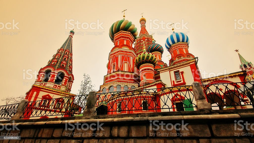 St Basil's cathedral at Red square in Moscow, Russia stock photo