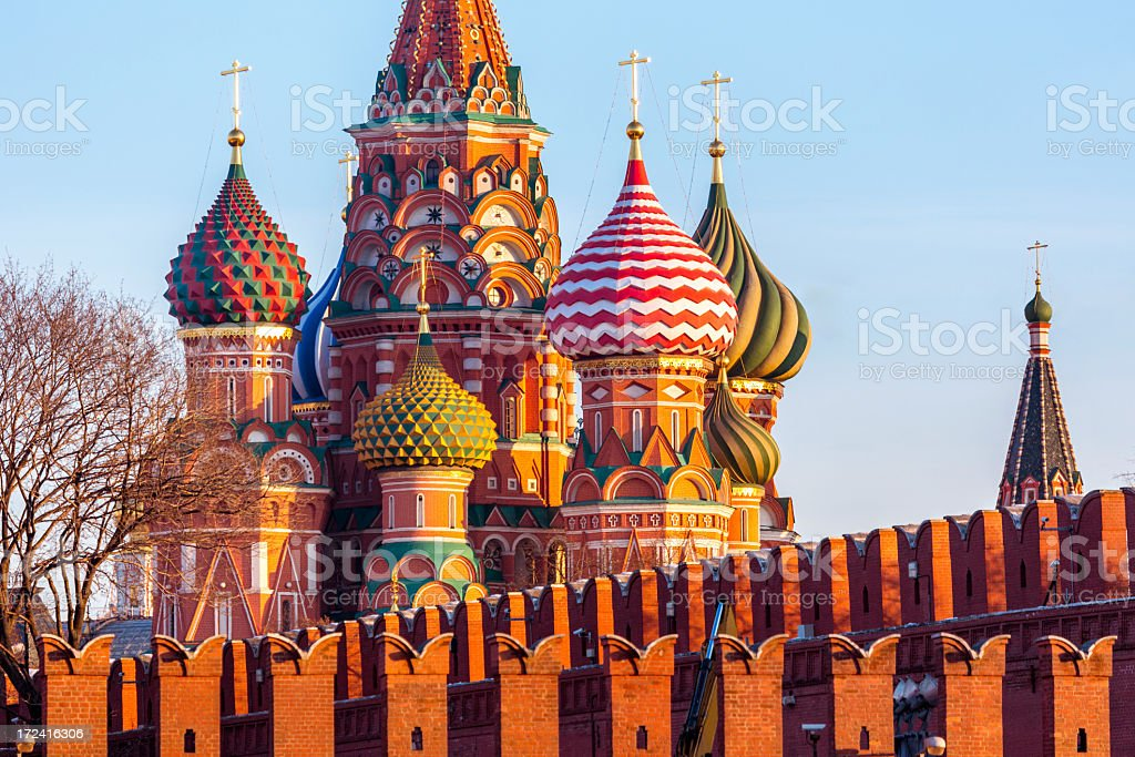St. Basil's Cathedral at the Kremlin wall royalty-free stock photo
