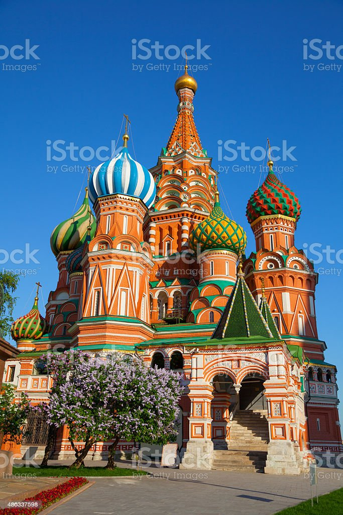 St. Basil's Cathedral in Moscow's Red Square, Russia stock photo