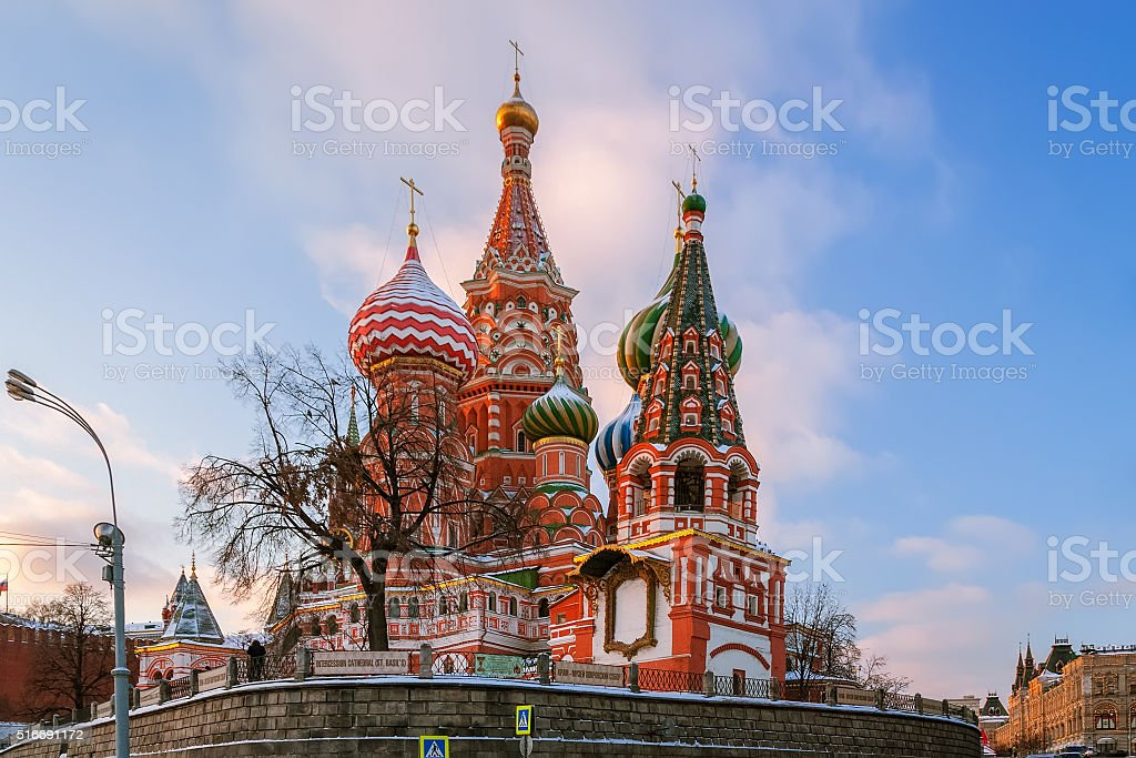 St. Basil's Cathedral in winter evening stock photo