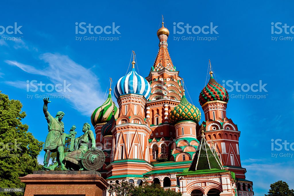 St. Basil's Cathedral, Minin and Pozharksy monument in Moscow stock photo