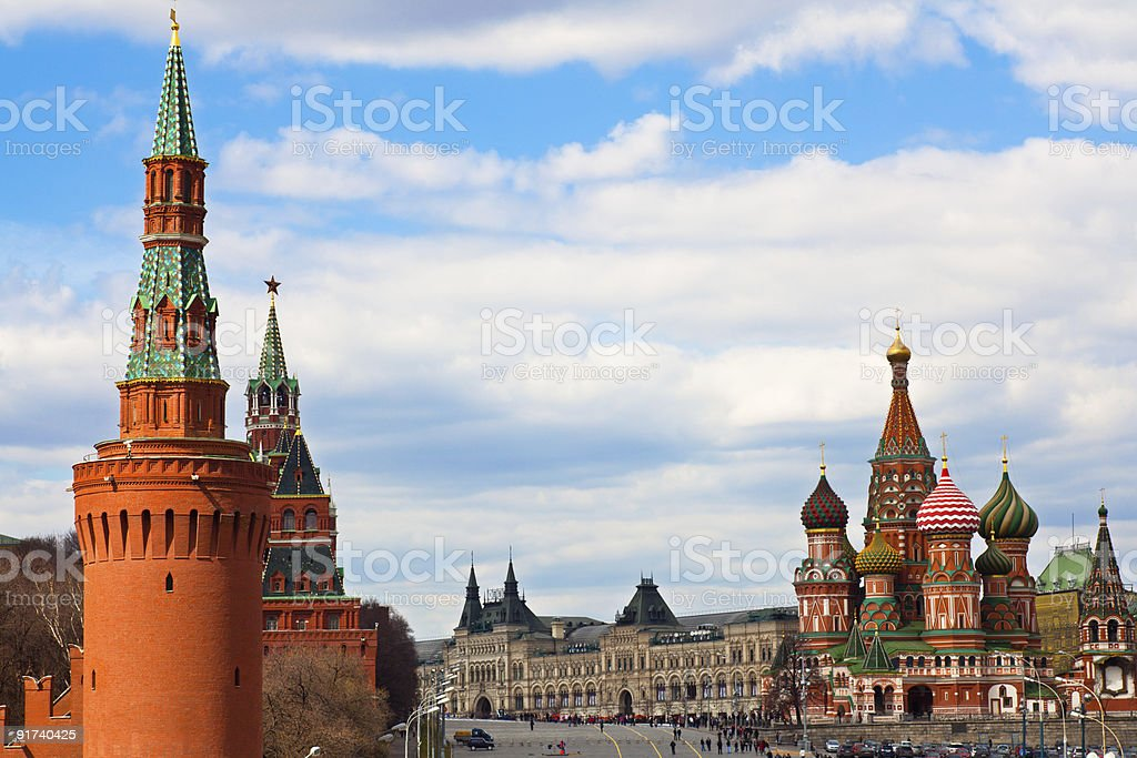 St. Basil's cathedral on Red Square and Kremlin towers stock photo