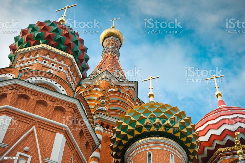 St Basils cathedral on Red Square in Moscow. stock photo