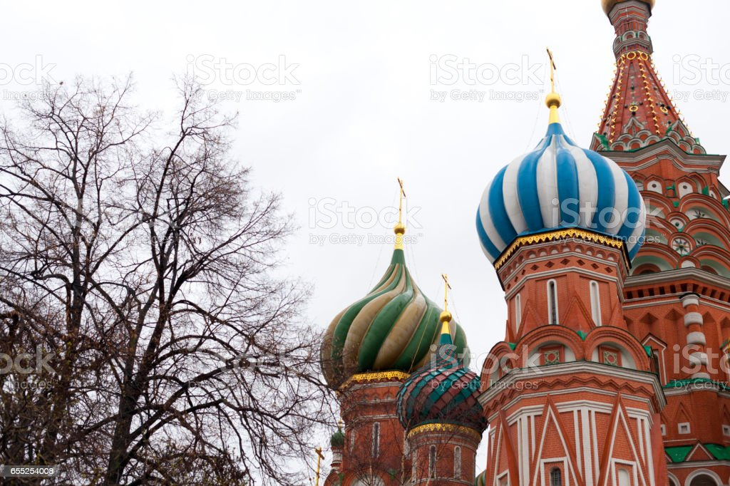 St Basil's Cathedral on red square stock photo