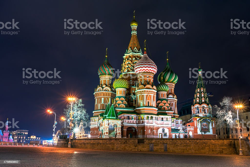 St Basil's cathedral on the Red Square in Moscow stock photo